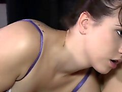 Lesbian girlfriends with strap on dildo fucking