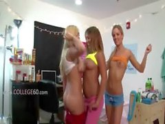Two horny college girls eat dick