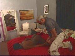 Horny ebony enjoys bondage with old white guy