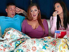 Boring video night turns into a sexy three-some with girlfriend and her mother I'd like to fuck stepmom