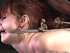 Redhead fem sub spanked and tied up ebi style