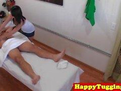 Petite asian masseuse jerking and sucking