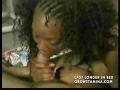 Young ebony chick is a pro at handling two pieces of black meat by the pool