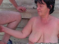 Fat Grandma With 1 Inch Nipples Gets Fucked Outdoors