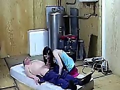 Beautiful brunette babe blows a filthy old mans schlong