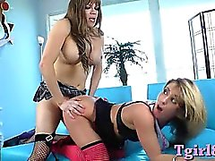 Hot busty tranny in stockings banged a blonde horny gal cunt