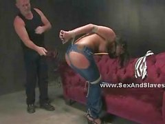 Busty prostitute ass fucked in bondage
