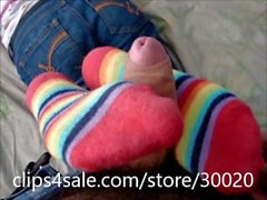 cumming on her socks and feet footjob sockjob fetish