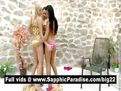 Amazing brunette and blonde lesbos licking and fingering pussy in a three way lesbo orgy