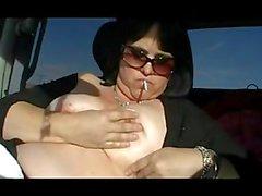 Sexy Smoking Handjob Outdoors