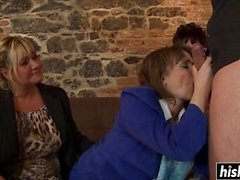 Lucky guy bangs three horny babes