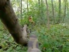 Teen Plays Native in the Forest