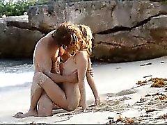 sweet art sex of horny couple on beach