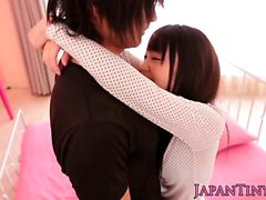 Tiny japanese beauty loves giving head