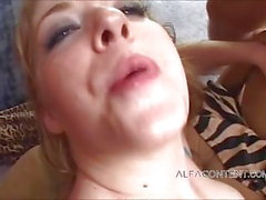 Nasty Asian and brunette slut get mouth filled with warm cum