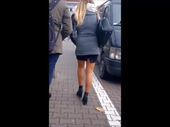 #78 Sexy girl with long legs in mini skirt and pantyhose