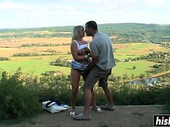 Awesome babe gets her cunt drilled outdoors