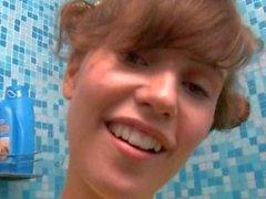 Cute teen Katie getting wet
