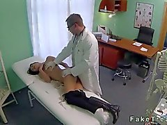 Brunette fucked by a doctor on spy cam