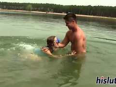 Lusty slut gets rammed on the beach