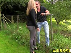 Babe piss soaked outdoors
