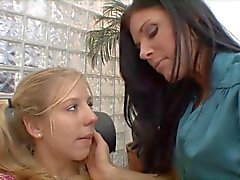 Mature brunette gets young blonde whore to lick her cunt on the sofa