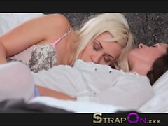 StrapOn Amazing blonde cutie fucking her girlfreind from behind