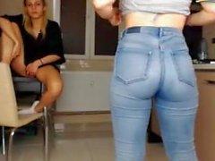 Sweet ass in jeans spank
