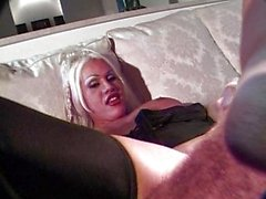 Blond tranny in boots puts her butt to work