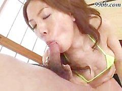Asian fucks 2 guys in sexy green panties