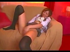 Schoolgirl Squirting While Fingered Riding On Schoolguy Cock On The Couch In The Room