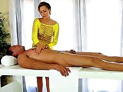 Sexy masseuse cum covered