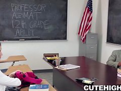 Bubbly Brunette Fucks Teacher