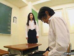 Horny teacher in stockings Mayumi Takara gets her student