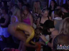 Foxy lassies get nude at a party