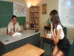 Student Bangs Her Old Fat Teacher