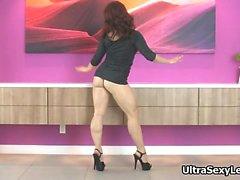 Sexy brunette babe on high heels dancing part1