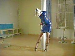 Lola, Blue Rubber Minidress Tape Bound to post