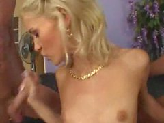 Skinniest blonde sex star gets rammed by a squad of hard cocks