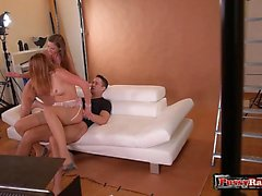 Natural tits cowgirl threesome and cumshot