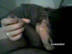 Turkish girl playing with a big black cock