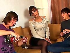 Attractive virgin seduced to have threesome