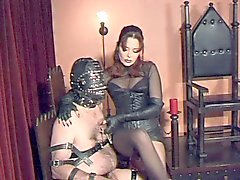 Slaves Balls and Cock punished by Gothic Mistress