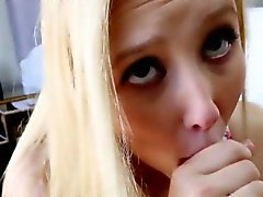 Teen blonde swallows load