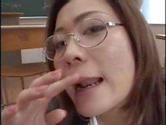 Asian school teacher gets a bunch of cocks for messy bukkake