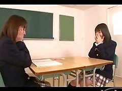 2 Schoolgirls Kissing Getting Undressed Rubbing Tits In The Classroom