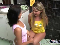 Kinky lesbian session with two young bimbos