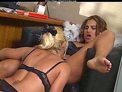 Office lesbian sex on the floor
