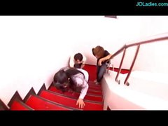Office Lady In Pantyhose Getting Her Pussy Stimulated With Remot Controoler Vibrator By 2 Guys On The Stairs