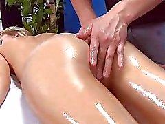 Shy blonde gets an ass massage
